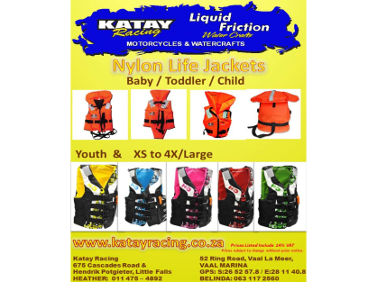Nylon Life Jackets - From Baby to 4XL